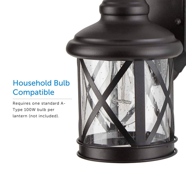 Crossed Outdoor Wall Lantern / Sconce Down-Facing Waterproof Light - 2 Pack - Black Lantern displaying the bulb inside.