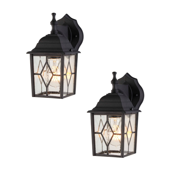 Diamond Outdoor Wall Lantern / Sconce Down-Facing Waterproof Light - 2 Pack - Black