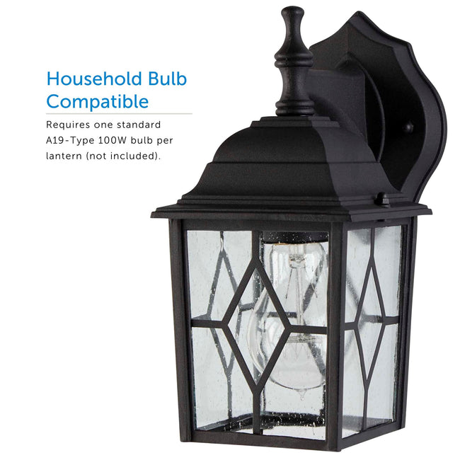 Diamond Outdoor Wall Lantern / Sconce Down-Facing Waterproof Light - 2 Pack - Black displaying the bulb inside