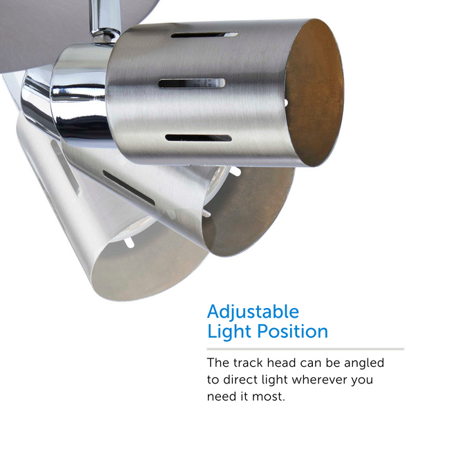 Eglinton track light showcasing adjustable light position – displaying 3 positions