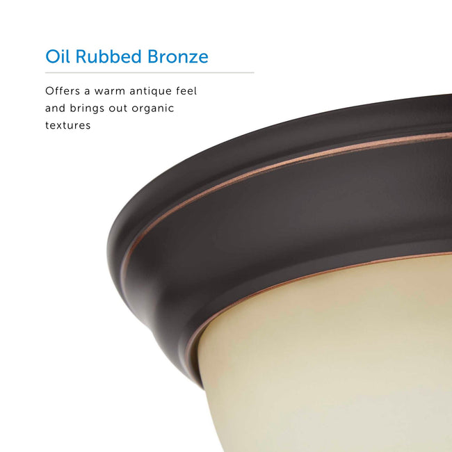 "Flush Mount Ceiling Light With Amber Glass Shade - 13"" Width - Oil Rubbed Bronze"