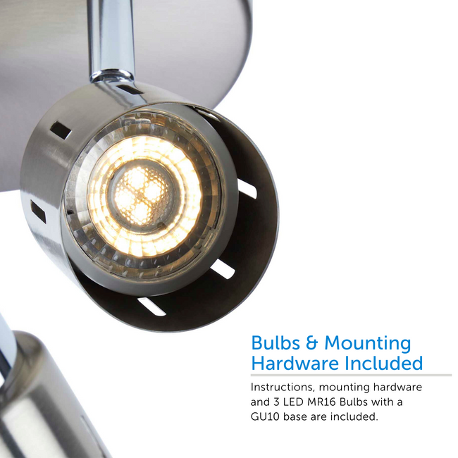 Eglinton track light semi-flush-mount bulb close up - hardware included