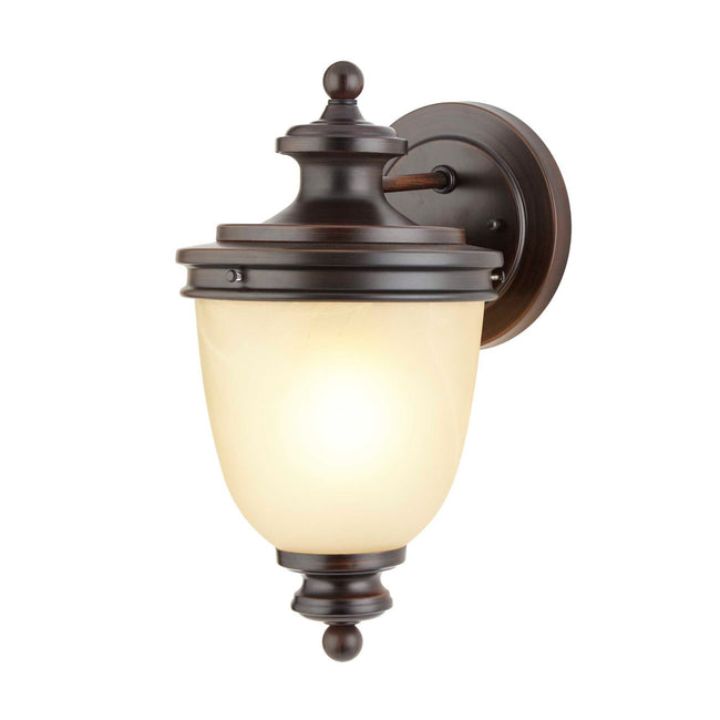Oyster Outdoor Wall Lantern / Sconce Waterproof Down-Facing Light - Antique Bronze on a white background