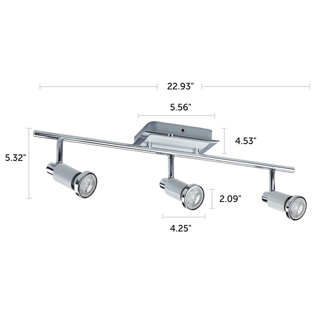 "Herly Track Lighting Kit Adjustable Ceiling Fixture - 3-Light - White & Chrome with dimensions of 22.93"" x 5.32"""