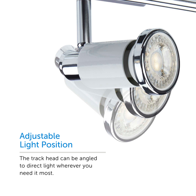 Close up on Adjustable Light Positions. The track head can be angled to direct light wherever you need it most.
