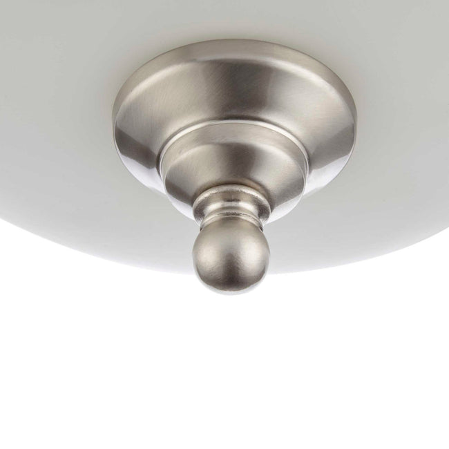 "Flush Mount Ceiling Light  With Frosted Glass Shade - 13"" Width - Brushed Nickel"