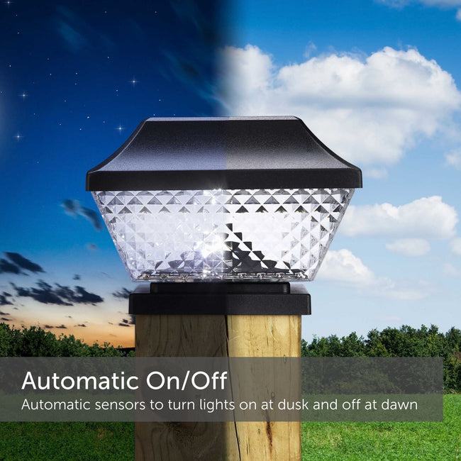 Black Diamond Solar post cap light half in the dark while illuminated and half in the light and off - Auto On/off sensors