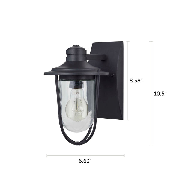 "Wellesley Outdoor Wall Lantern / Sconce Down-Facing Waterproof Light - Black with dimensions of 10.5"" x 6.63"""