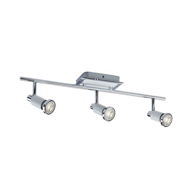 The Herly Track Lighting Kit Adjustable Ceiling Fixture on a white background. This fixture has 3-Lights and is White & Chrome