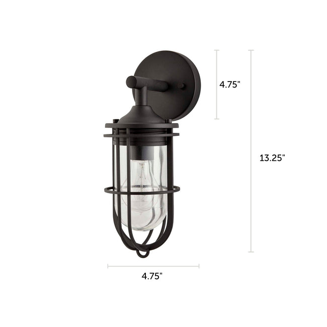 "Dupont Outdoor Wall Lantern / Sconce Down-Facing Waterproof Light - Black with dimensions of 13.25"" x 4.75"""