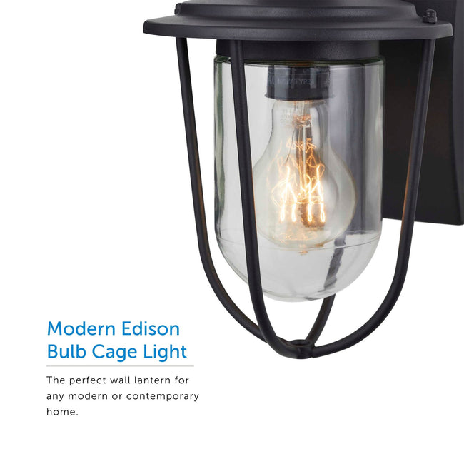 Extreme close up of the bulb inside of the lantern and its modern edison bulb cage light