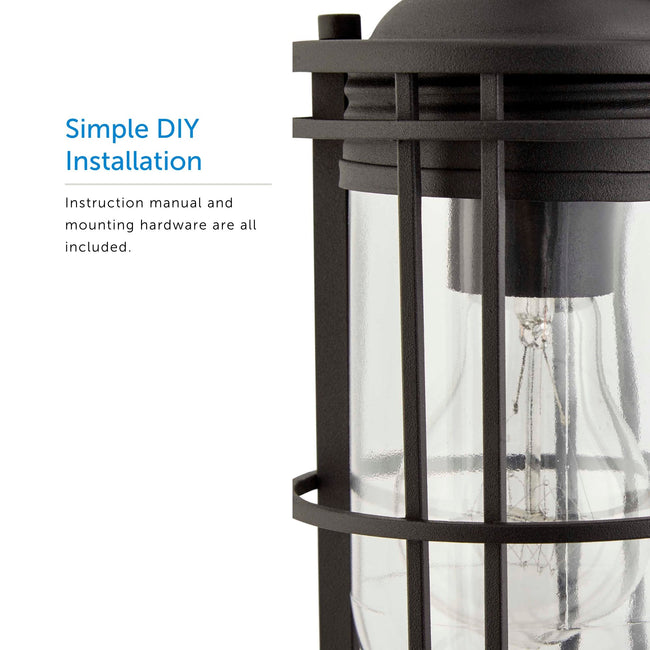 Close up of the lantern and a call out for Simple DIY Installation