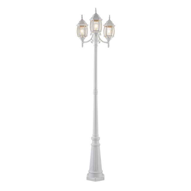 White outdoor 3 headed lamp post