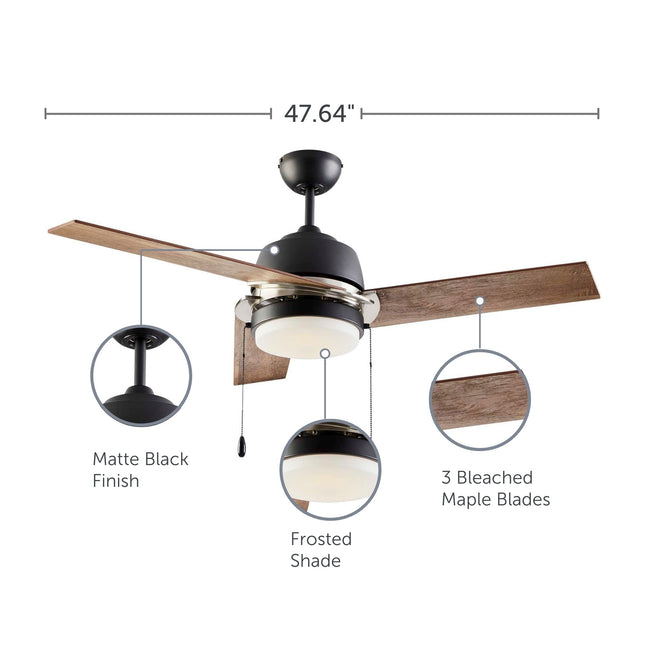 Ciara Ceiling Fan with Light - 3 Blades - Bleach Maple with feature call-outs about finish, shade and blades