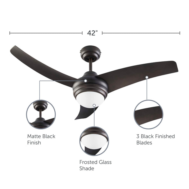 Contemporary Ceiling Fan with Dimmable Light - 3 Blades - Black with feature call-outs on finish, glass shade and blades