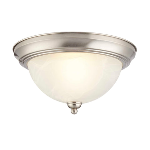"Flush Mount Ceiling Light With White Alabaster Shade - 12"" Width - Brushed Nickel"
