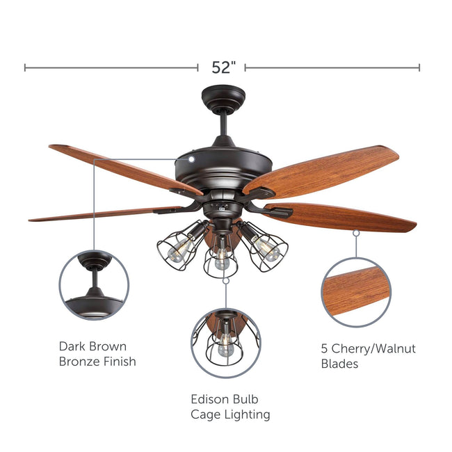 Gunnar Ceiling Fan feature callouts with bronze finish, edison bulb cage lighting and blade material