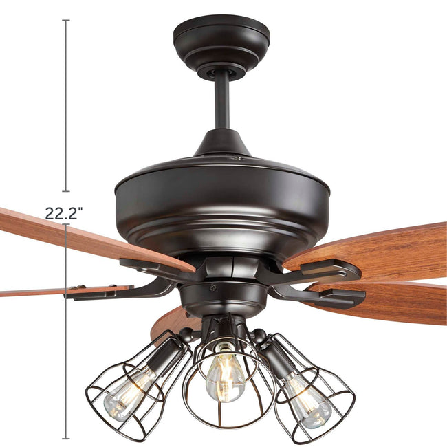 Gunnar Ceiling Fan with Dimmable Lights - 5 Blades - Dark Brown & Bronze product dimensions of 22.2""