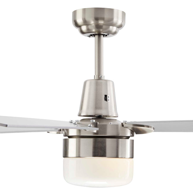 Leon Ceiling Fan with Dimmable Light - 4 Blade - Silver & Nickel close-up