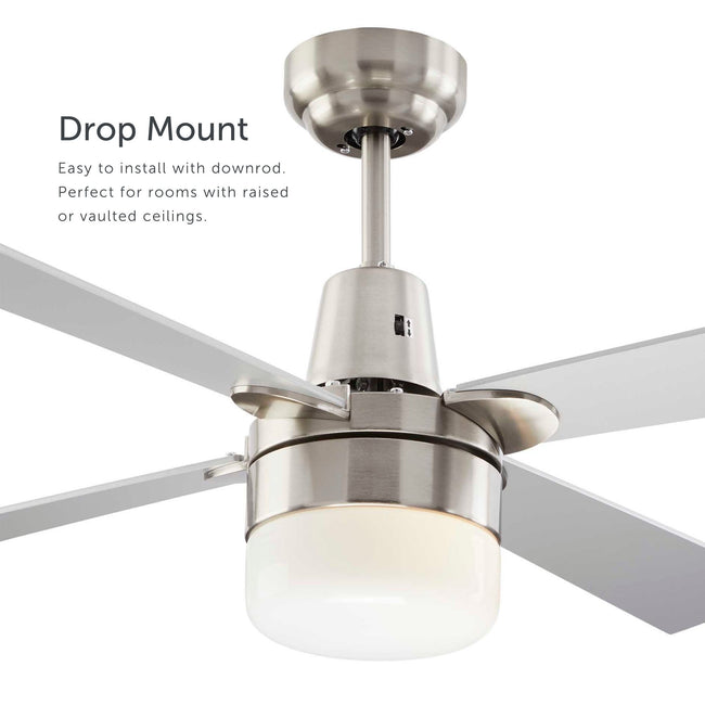 Leon Ceiling Fan with Dimmable Light - 4 Blade - Silver & Nickel as a drop mount