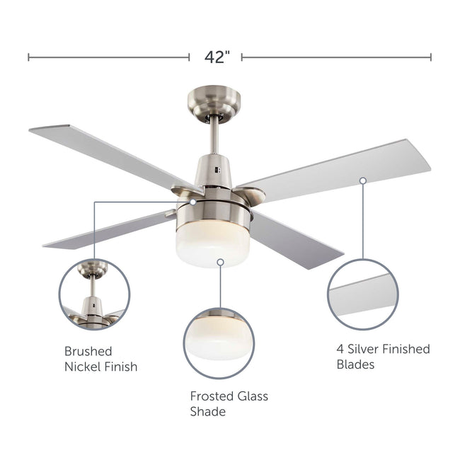 Leon Ceiling Fan with Dimmable Light - 4 Blade - Silver & Nickel feature call-outs on finish, shade and blades
