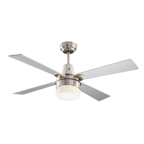 Leon Ceiling Fan with Dimmable Light - 4 Blade - Silver & Nickel on white background