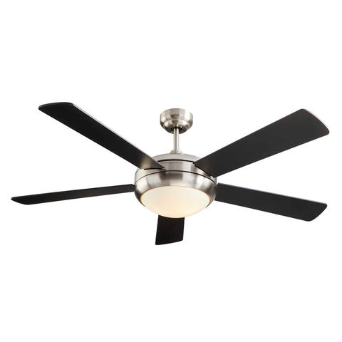 Miles Ceiling Fan with Dimmable Light - 4 Blades - Black & Nickel on white background
