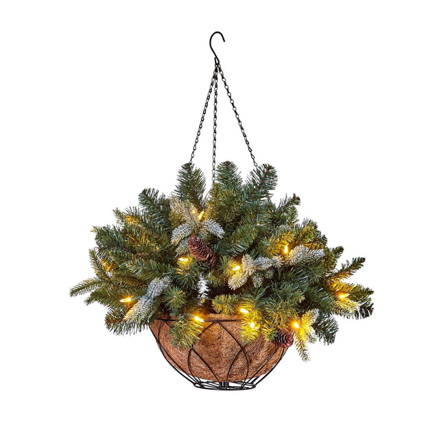 NOMA Vienna Hanging Basket with Warm White Lights, Brown Basket and Hanging Wire. White Background