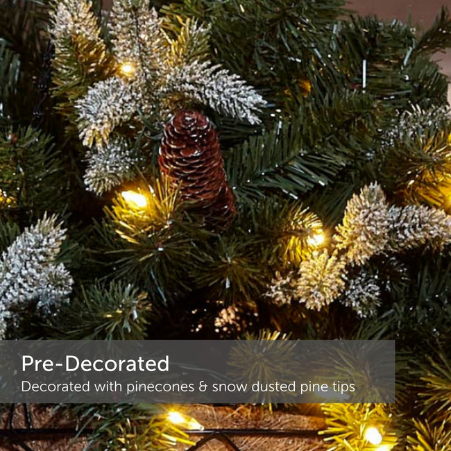 "Close up of Warm White Lights, Pine Tips and Pinecones. Text on Bottom Left Reads"" Pre-Decorated"""