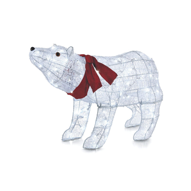 NOMA 2.25 Ft Pre-Lit Polar Bear with Red Scarf and Pure White Lights. White Background.