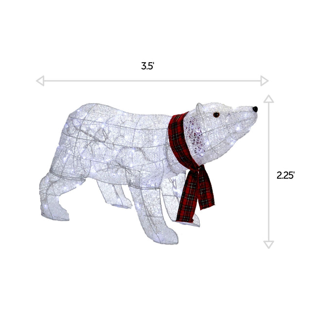NOMA 2.25 Ft Pre-Lit Polar Bear with Red Scarf and Pure White Lights. Horizontal and Vertical Lines Indicating Measurements of Polar Bear. White Background.