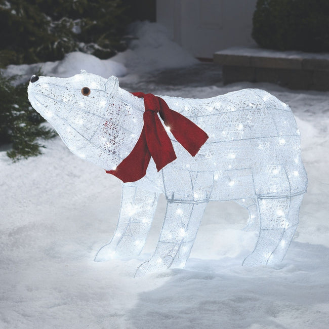 NOMA 2.25 Ft Pre-Lit Polar Bear with Red Scarf and 120 Pure White Lights. Polar Bear is Outdoors on Snow Covered Lawn