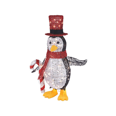 NOMA 2.75 Ft Pre-Lit Penguin with Top Hat, Candy Cane and 100 Incandescent Bulbs. White Background.