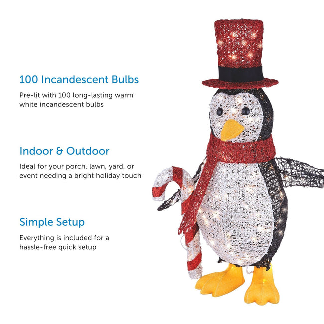 3 Feature Call Outs on Left Hand Side of Image . Penguin with Top Hat on Right Side of Image. White Backgrounds.