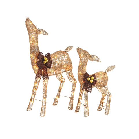 NOMA Pre-Lit Golden Glitter Deer 2-Pack Set wit Warm White Incandescent Lights. White Background.