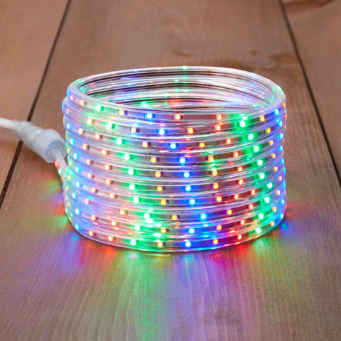 NOMA 23 Ft Flexible LED Rope Light - Multi-Color, Coiled Stack on Wooden Floor