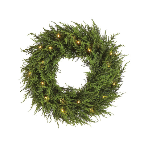 NOMA 24-inch Pre-Lit Cedar Christmas Wreath with Warm White Bulbs. White Background