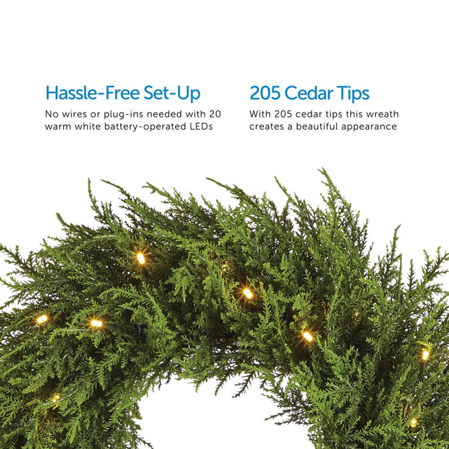 2 Feature Call Outs on Upper Half of Image. Close-Up of Cedar Wreath on Bottom Half. White Background