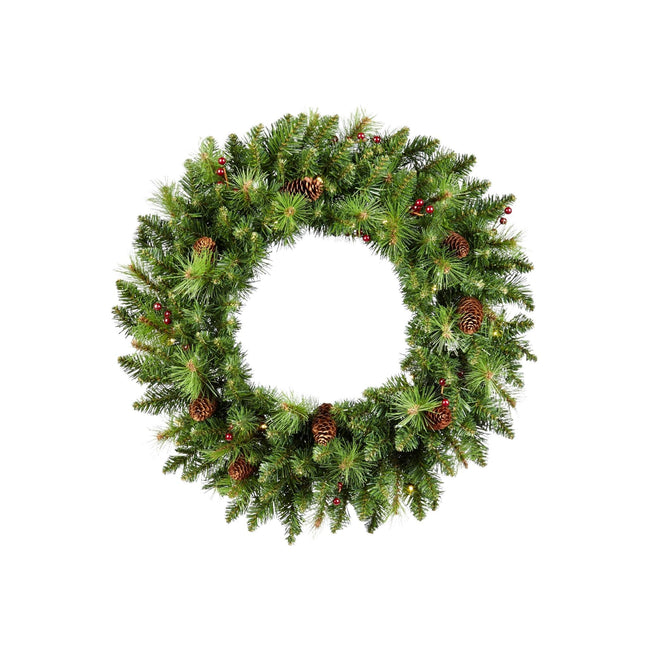 NOMA 24 Inch Pre-Lit Carolina Classic with Lights, Berries and Pinecones. White Background.