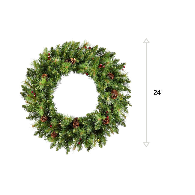 NOMA 24 Inch Pre-Lit Carolina Classic with Lights, Berries and Pinecones. Horizontal Line on Right Side Indicating 24-Inches. White Background.