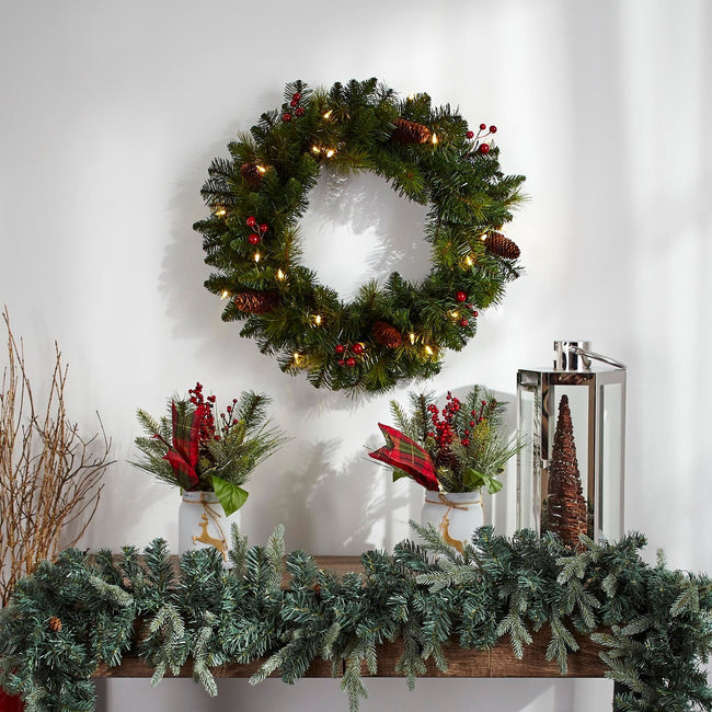 technology-Carolina Classic 24-Inch Pre-Lit Christmas Wreath