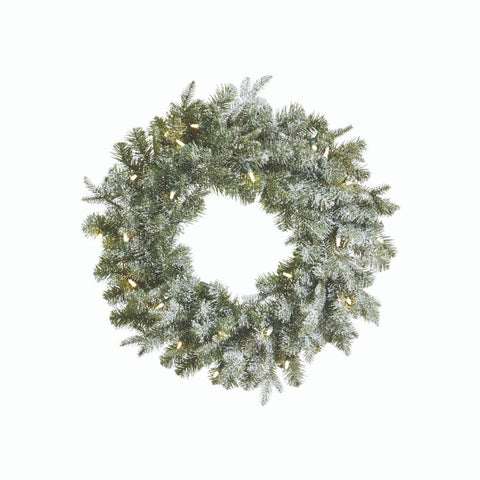 NOMA 24-Inch Frosted Fir Wreath with 25 Lights. White Background