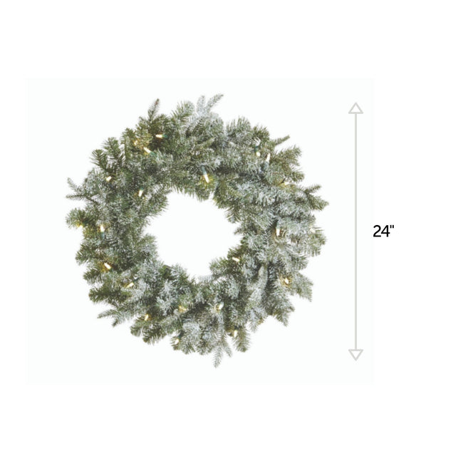 NOMA 24-Inch Frosted Fir Wreath with 25 Lights. Vertical Line Indicating 24-inch Measurement. White Background