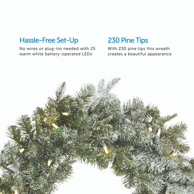 2 Feature Call Outs on Upper Half of Image. Close-Up of Frosted Fir Wreath on Bottom Half of Image. White Background