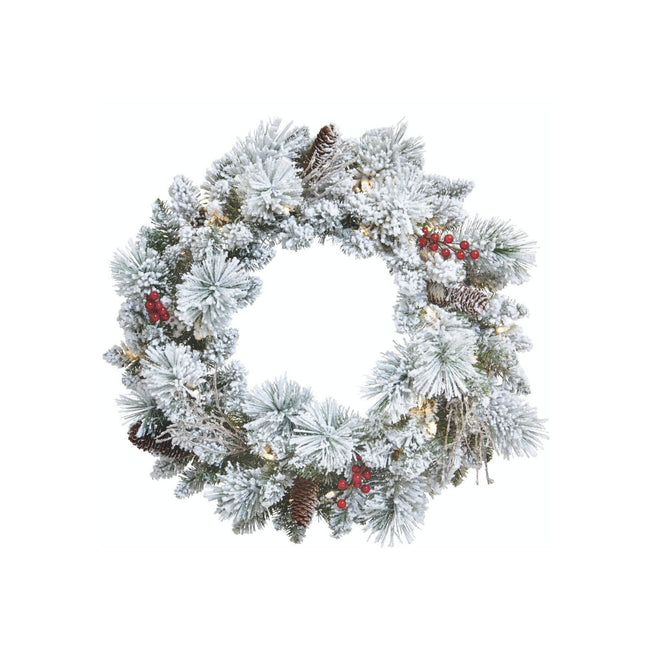NOMA 24-Inch Snow Dusted Berry Wreath with Lights. White Background