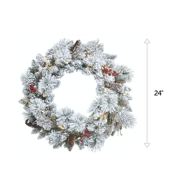 Snow Dusted Berry Wreath. Vertical Line on Right Side Indicating 24-Inch Measurement. White Background