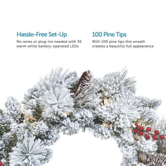 2 Feature Call Outs on Upper Half of Image. Close Up of Snow Dusted Berry Wreath on Bottom Half. White Background