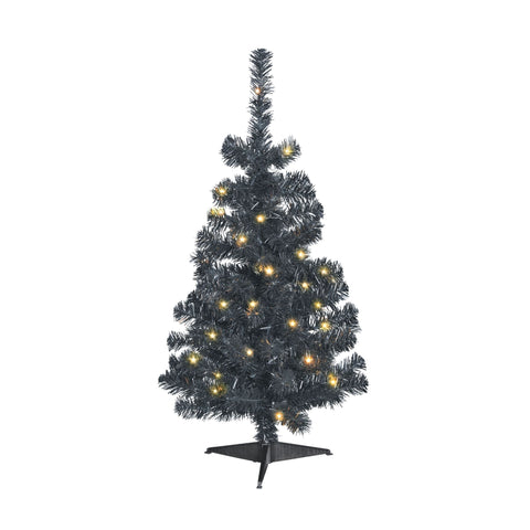 NOMA 3 Ft Black Table Top Tree with Warm White Lights on White Background