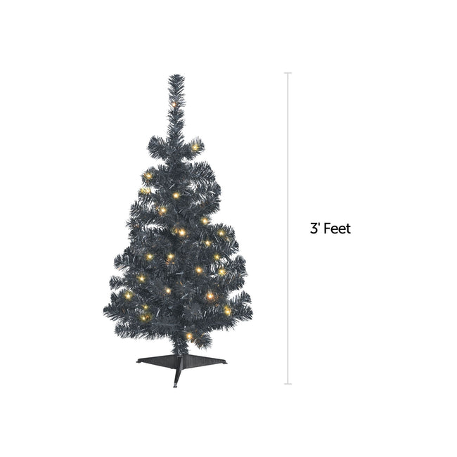 NOMA 3 Ft Black Table Top Tree with Warm White Lights With Measurement Line on Right indicating 3 Feet. White Background