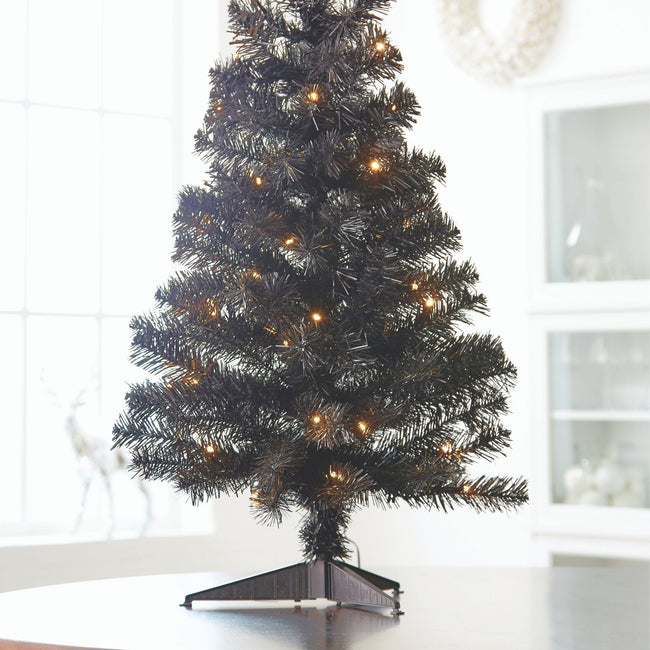 technology-Black Table Top 3-Ft Christmas Tree - White/Multi-Color LED Lights